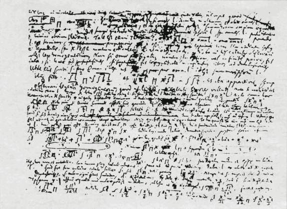 Leibniz, Manuskript mit der Erfindung des Integrals