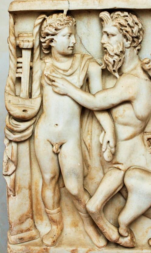 Achilles und Chiron; römischer Sarkophag
