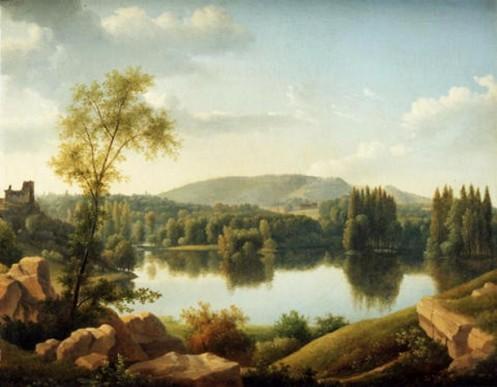 der Park von Ermenonville (mit der Insel, auf der Rousseau begraben wurde)